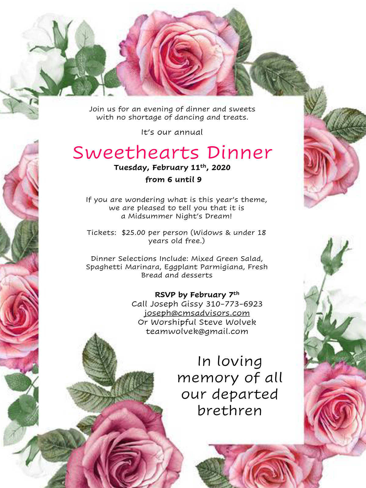 Sweethearts Dinner 2020